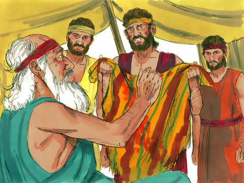 Les frères de Joseph annoncent à leur père que Joseph est mort. Tous ses fils et toutes ses filles vinrent pour le consoler, mais il refusait d'être consolé. Il disait: «C'est dans le deuil que je descendrai vers mon fils au séjour des morts, il pleurait.