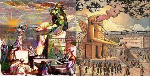 Le roi Salomon érige des hauts-lieux consacrés aux idoles moabites et ammonites. Les rois idolâtres de Juda, Achaz et Manassé, pratiquent des infanticides en brûlant dans le feu leurs fils et leurs filles pour les consacrer au dieu Moloch ou Baal (Tophet)