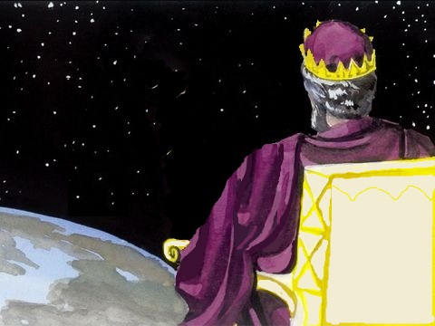Dans sa vision qui se déroule pendant le règne millénaire, Jean voit un grand trône blanc et celui qui est assis dessus. La couleur blanche évoque la pureté, la sainteté, la justice. Ce trône est grand pour un règne grandiose et couvrant toute la terre.