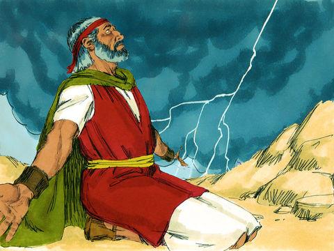 La nuée sur le mont Sinaï symbolise la présence de Yahvé, la montagne tremble.