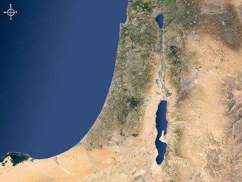 Photo satellite: Le Jourdain traverse la mer de Galilée ou lac de Tibériade et se déverse dans la mer morte