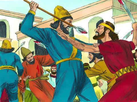 Les corps des 10 fils d'Haman sont pendus et 300 hommes de plus sont tués à Suse.  Au total, ce sont 75'000 ennemis des Juifs