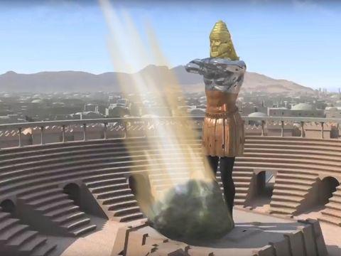 Le roi Nébucadnetsar voit alors une énorme pierre se détacher d'une montagne qui vient heurter violemment les pieds de la statue géante et pulvériser le fer, le bronze, l'argile, l'argent et l'or. Il s'agit du Royaume de Dieu.