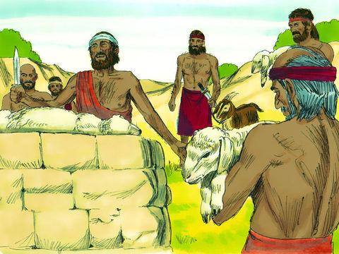 Ce 14ème jour du mois, chaque famille israélite a partagé l'agneau sans défaut, un mâle âgé d'un an (ou un chevreau) dont le sang a été appliqué autour des portes. La viande est rôtie au feu et mangée avec des pains sans levain et des herbes amères.
