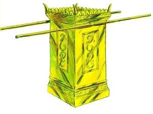 L'entrée du Très-Saint est fermée par un épais rideau magnifiquement décoré. Dans le temple de Salomon, l'arche de l'alliance était précieusement gardée dans le Très Saint sous les ailes déployées de 2 chérubins en or. L'autel des parfums est devant.