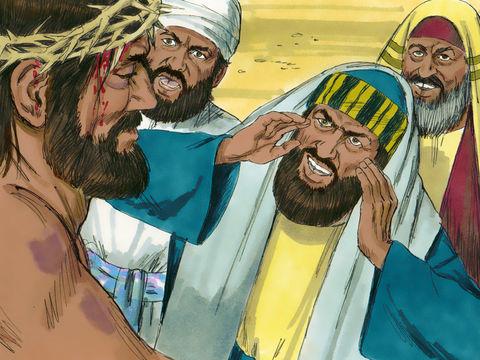 Les Juifs lui crachèrent au visage et le frappèrent à coups de poing; certains lui donnaient des gifles. Ils le crucifièrent, les passants l'insultaient et secouaient la tête. Jésus a subit insultes et moqueries, lui le Fils de Dieu venu pour nous sauver!