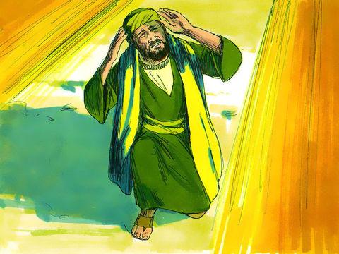 Alors qu'il approche de Damas, tout à coup une lumière aveuglante resplendit autour de lui. Il tombe par terre et il entend une voix lui dire :  « Saul, Saul, pourquoi me persécutes-tu? »