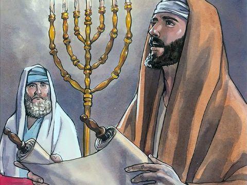 Jésus-Christ lit une prophétie en Isaïe 61:1, 2 sur un volumen: rouleau de papyrus ou de parchemin qu'il déroule au fir et à mesure de la lecture.