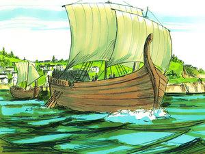 Les bateaux naviguent à la surface des eaux. Ils se situent au dessus de la masse agitée des eaux et donc au-dessus de la masse agitée des humains. Ils représentent ceux qui ont une position élevée parmi les humains opposés à Dieu.