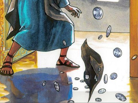 Même celui avec qui j'étais en paix, en qui j'avais confiance et qui mangeait mon pain, lève le talon contre moi. Judas a trahi Jésus puis en a ressenti des remords. Il a jeté les 30 pièces d'argent dans le temple.