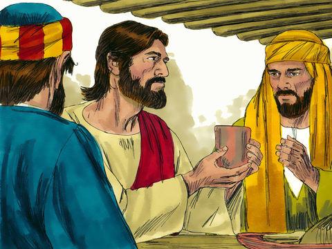 Le sang dans la coupe représente le sang de Jésus pour la Nouvelle alliance.