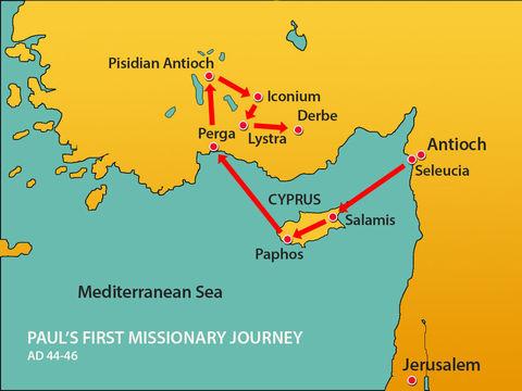 Au cours du premier voyage missionnaire qui dure presque 2 ans, Paul est accompagné de Barnabas. A Paphos, à Chypre, le nom de Saul est changé en Paul.