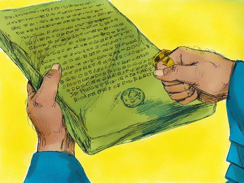 Le message fut écrit au nom du roi Assuérus et l'on y apposa l'empreinte du roi. Les décrets promulgués par les Perses sont irrévocables, les Juifs seront attaqués le 13ème jour.