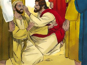 Jésus guérit un aveugle. Jésus était ému de pitié devant la souffrance et il a soulagé et guéri de très nombreuses personnes.