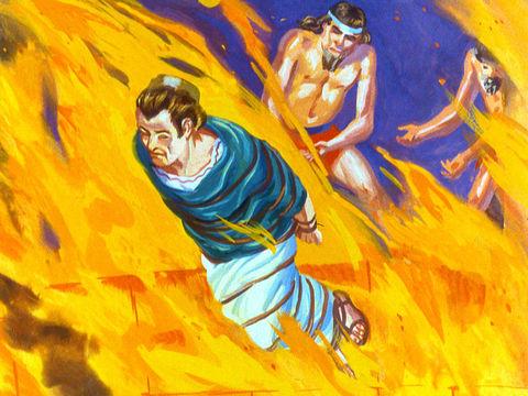 A Babylone, un ange a sauvé Shadrak, Meshah et Abednego dans la fournaise de feu ardente en les rendant insensible aux flammes, alors que la chaleur venait de tuer les soldats qui les y avait jetés.