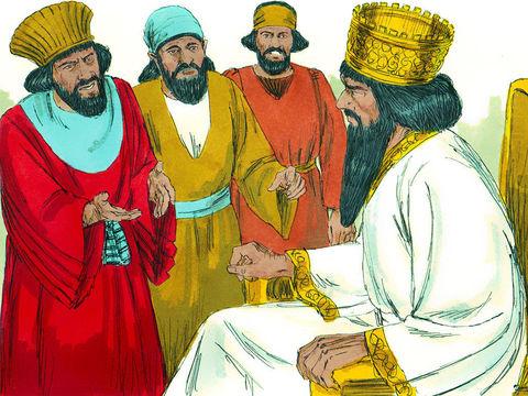 Bien sûr, Daniel ne peut obéir à cet ordre, il est rapidement surpris en train de prier son Dieu, Jéhovah, puis dénoncé au roi qui en est profondément attristé. Le roi tient beaucoup à Daniel et jusqu'au coucher du soleil, il s'efforce de sauver Daniel.