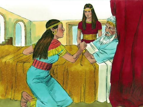 """Le roi David jura: """"Aussi vrai que Jéhovah est vivant, lui qui a racheté mon âme de toute détresse, comme je te l'ai juré par Jéhovah le Dieu d'Israël, en disant: 'C'est Salomon ton fils qui deviendra roi après moi, et c'est lui qui siégera sur mon trône."""