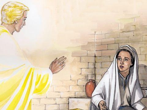 L'Ange Gabriel vient vers Marie pour lui annoncer qu'elle va mettre au monde le Fils du très-Haut, le Roi attendu.