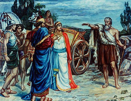 Le prophète Elie le Thisbite est chargé de la mission d'annoncer l'extermination de la famille d'Achab car le roi a entraîné Israël dans l'idolâtrie le culte de Baal et d'Astarté. Les chiens lècheront le sang d'Achab et mangeront Jézabel.