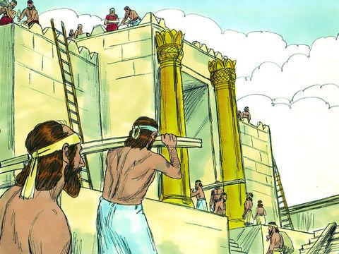 Pendant le règne de Darius Ier (522-486), Zorobabel, fils de Shealthiel, et Josué, grand-prêtre et fils de Jotsadak reprennent la reconstruction de la maison de Dieu à Jérusalem sous l'impulsion des prophètes Aggée et Zacharie.
