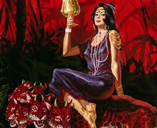 L'empire mondial de la fausse religion est représentée sous les traits d'une prostituée vêtue luxueusement et chevauchant une bête sauvage symbolisant les rois de ce monde. Cette femme est ivre du sang des saints qu'elle a fait tuer.