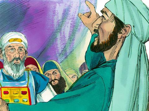 Etienne a vu Jésus à la droite de Dieu dans les cieux. Cela a mis les Juifs en colère et ils ont décidé de tuer Etienne.
