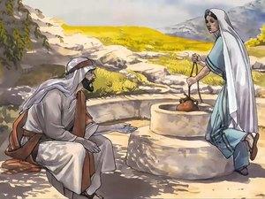 Jésus explique à une Samaritaine venue puiser de l'eau qu'il est le Messie et que celui qui boira de l'eau qu'il donne n'aura plus jamais soif et deviendra lui-même une source d'eau qui jaillit jusque dans la vie éternelle.