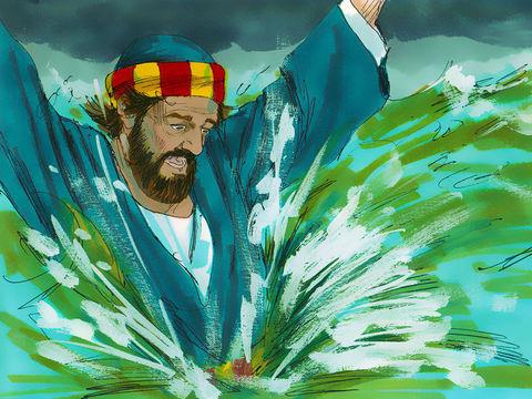 L'apôtre Pierre décide à son tour de suivre Jésus en marchant sur l'eau. Mais il prend peur à cause de la tempête. Alors il s'enfonce dans l'eau.