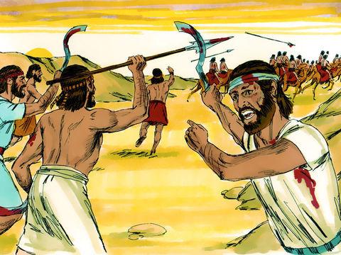 Les Philistins sont sur le point d'attaquer les Israélites réunis à Mitspa quand Yahvé ou Jéhovah Dieu fait retentir le tonnerre avec un grand fracas contre les Philistins qui prennent la fuite et se font battre par les Israélites.
