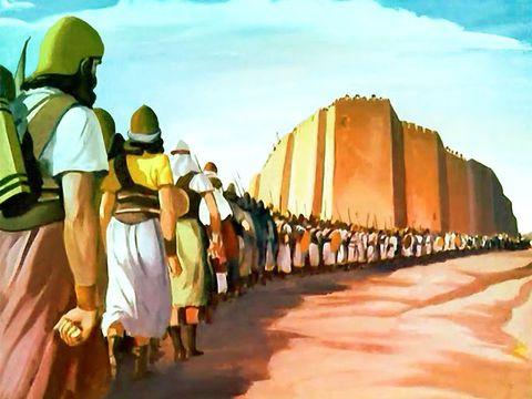 Le peuple fait le tour de Jéricho pendant 7 jours, le 7ème jour, 7 fois le tour. En marchant derrière l'arche de l'alliance, symbole de la puissance de Jéhovah Dieu.