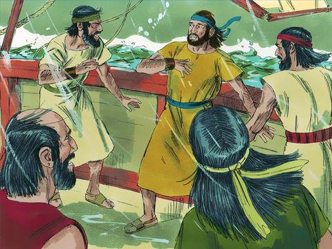 Jonas refuse d'avertir les habitants de Ninive de leur future destruction et s'enfuit à Tarsis par bateau. Jéhovah fait souffler le vent et déclenche une terrible tempête qui ne se sera calmée que lorsque Jonas sera jeté par-dessus bord.