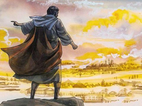 Satan essaie de tenter Jésus en lui offrant tous les royaumes du monde en échange d'un acte d'adoration