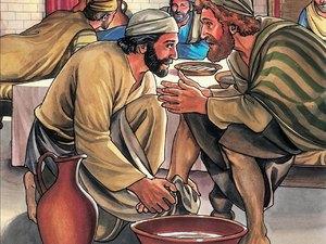 Jésus donne une leçon d'humilité en lavant les pieds de ses disciples, suivons son exemple