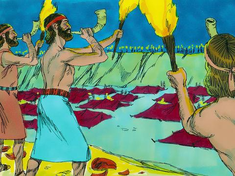 Gédéon et ses 300 hommes attaquent le camp madianite avec 135 000 soldats madianites. Ils ont des trompettes et des cruches.