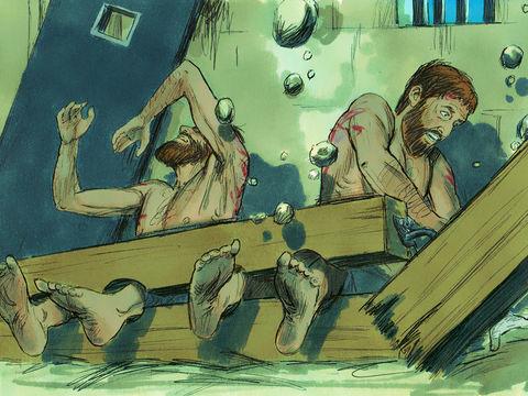 Paul et Silas sont emprisonnés et délivrés miraculeusement par un tremblement de terre (Actes 16 :26). Le gardien de prison et toute sa famille se font baptiser et deviennent chrétiens.