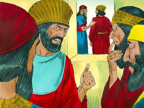 les hauts fonctionnaires essaient de piéger Daniel. Il établissent un décret irrévocable selon lequel il ne faut adresser ses prières qu'au roi.