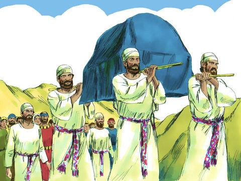 David fait monter l'arche de l'alliance à Jérusalem qui devient ainsi le centre du culte de Jéhovah, la ville sainte où 'réside' le Tout-Puissant.