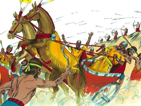La cananéens oppriment les Israélites. Barak demande à Déborah de l'aider à vaincre l'ennemi. Grâce à Déborah, messagère de Jéhovah Dieu, les Israélites vont vaincre Jabin et tous ses chars.