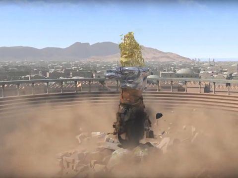 La grosse pierre a pulvérisé la statue représentant les puissances mondiales