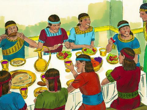 Après un test de 10 jours, Daniel et les 3 Hébreux sont en meilleure forme que les autres sages de Babylone, ils peuvent manger des légumes et boire de l'eau