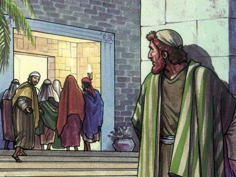 l'apôtre Pierre le suit de loin jusqu'à la cour du grand-prêtre.