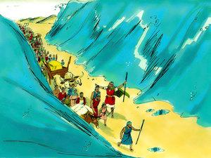 Les Israélites traversent la mer rouge à sec, ils sont poursuivis par les chars de l'armée du pharaon