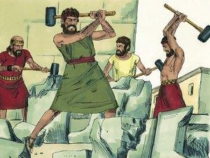 Le roi Josias a fait détruire toutes les idoles et tous les hauts-lieux sur les montagnes, comme cela avait été prophétisé, il profane le Tophet avec les ossements des prêtres mis à mort.