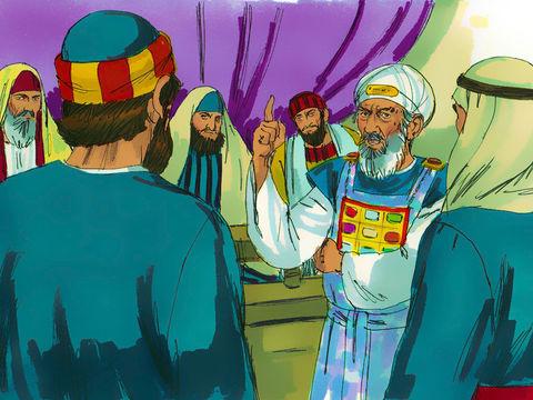Après avoir débattu dans le sanhédrin, ils décident d'interdire aux apôtres, avec menaces, de parler ou d'enseigner au nom de Jésus. Mais Jean et Pierre sont déterminés à rendre témoignage à l'enseignement du Christ.