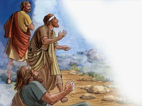 """Pierre, Jacques et Jean qui sont proches de Jésus sont témoins de cette vision et des paroles de Dieu lui-même: « Et de la nuée sortit une voix qui dit: """"Celui-ci est mon Fils bien-aimé: écoutez-le!"""" » Dieu a plus d'autorité que Jésus."""