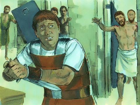 Impressionné par le tremblement de terre qui a ouvert toutes les portes de la prison, le gardien demande à Paul et Silas ce qu'il doit faire pour être sauvé.