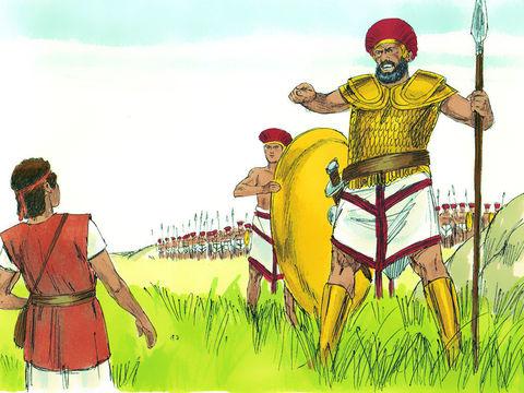 Le roi Saül veut revêtir David d'une armure pour pouvoir combattre Goliath, le Philistin qui mesure environ 3 mètres. Mais David refuse car cette lourde protection le gêne dans ses mouvements. Le Philistin porte lui-même une cuirasse de 60 kg.
