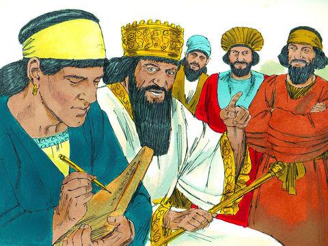 Le décret est irrévocable, Daniel doit être jeté dans la fosse aux lions. Le roi Darius essaie de trouver une solution pour sauver Daniel