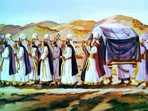 7 prêtres soufflent dans 7 trompettes devant l'arche de l'alliance, symbole de la puissance de Dieu