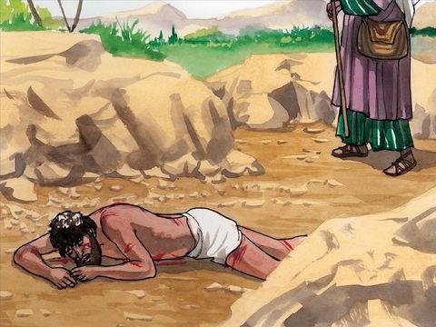 Parabole du bon Samaritain: un prêtre passe près de l'homme qui a été agressé, le voit et ne le secourt pas.